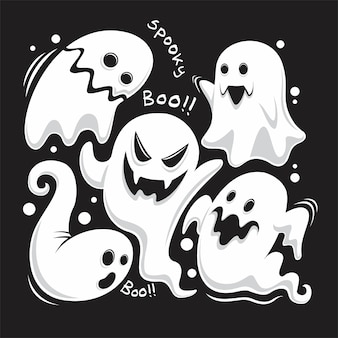 Conjunto completo de fantasmas únicos da celebração do dia das bruxas