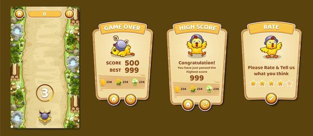 Conjunto completo de janela e elementos do ícone pop-up do jogo do botão do menu