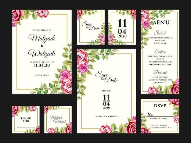 Conjunto completo de modelo de design de cartão de convite de casamento floral