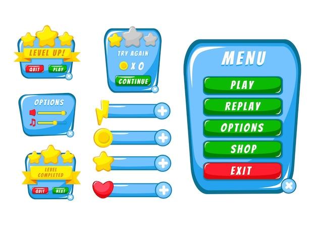 Conjunto completo de pop-up, ícone, janela e elementos de jogo de botão de nível para criar videogames de rpg medievais