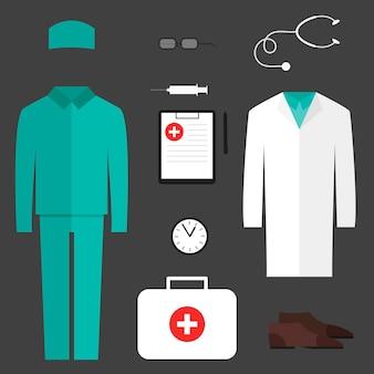 Conjunto completo de roupas médicas