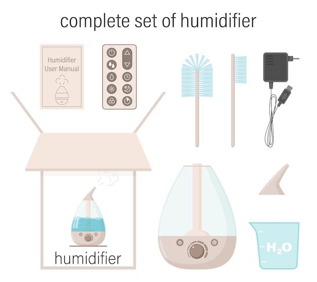 Conjunto completo de umidificador. caixa, instruções, recipiente, tampa, escovas, cabo elétrico, painel de controle.