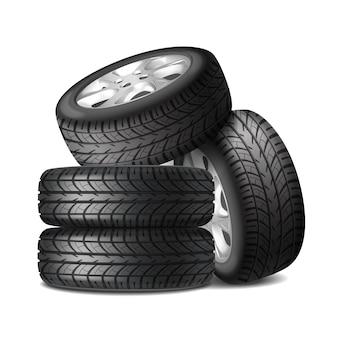 Conjunto completo realista de rodas de carro