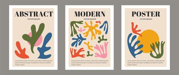 Conjunto contemporâneo moderno de composição de silhueta de algas pintadas à mão artística minimalista geométrica abstrata matisse. cartazes vetoriais para decoração de parede em estilo moderno de meados do século