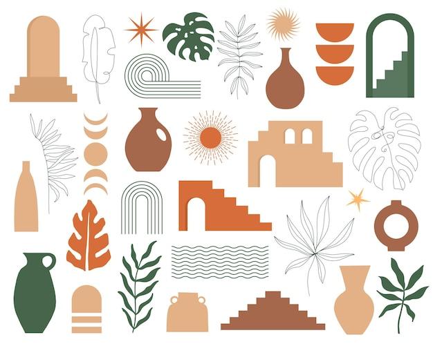 Conjunto contemporâneo moderno de geometria estética, arquitetura, escada marroquina, paredes, arco, vasos, arco