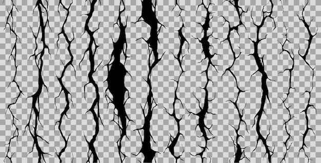 Conjunto contínuo de rachaduras, fissuras e estalos de parede quebrada
