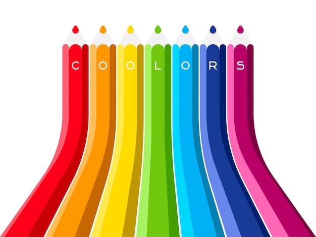 Conjunto coolors do lápis de cor crescer. ilustração vetorial multicolorida de arco-íris