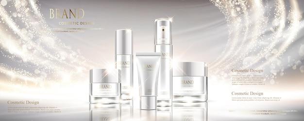 Conjunto cosmético branco pérola brilhante com diferentes recipientes