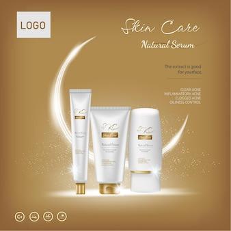Conjunto cosmético de luxo com o fundo dourado das ondas e produtos cosméticos do modelo de efeito de luz