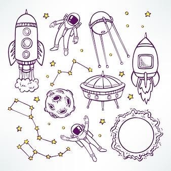 Conjunto cósmico com foguetes de desenho bonito e astronautas. ilustração desenhada à mão