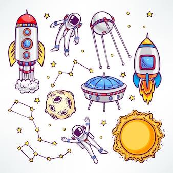 Conjunto cósmico com lindos foguetes e astronautas. ilustração desenhada à mão