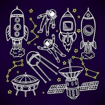 Conjunto cósmico com lindos foguetes e astronautas.