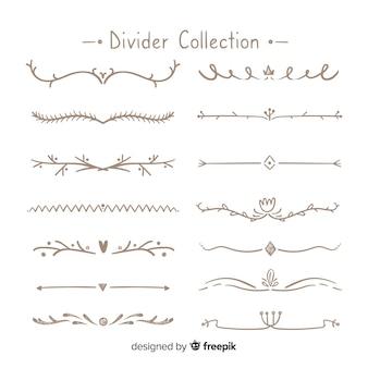 Conjunto criativo de divisores de ornamento de mão desenhada