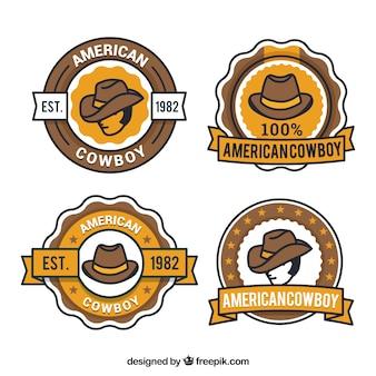 Conjunto criativo de etiquetas de cowboy