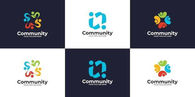 Conjunto criativo de logotipo da comunidade de pessoas ou design de logotipo de clínica médica