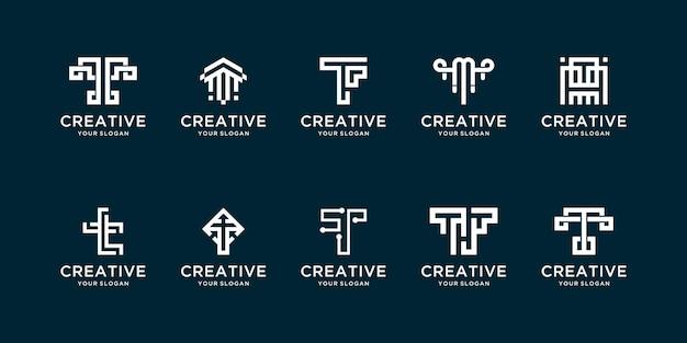 Conjunto criativo de logotipos iniciais com t