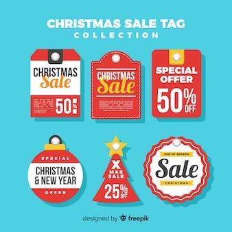 Conjunto criativo de tags de venda de natal