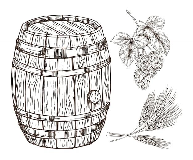Conjunto cru para reprodução de cerveja com barril de madeira
