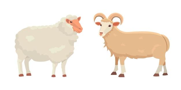 Conjunto cute sheep e ram ilustração retro isolada. silhueta de ovelhas em branco. animais jovens da fazenda