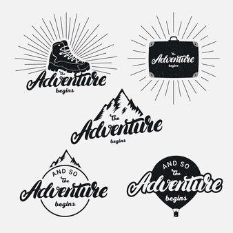 Conjunto da aventura começa mão escrita letras frase.