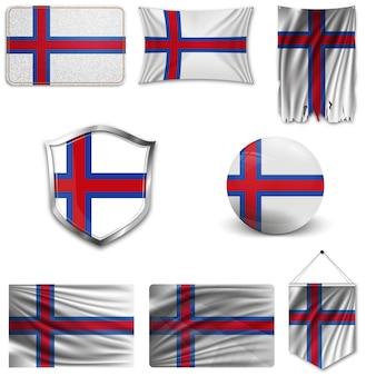 Conjunto da bandeira nacional da ilha de faroe