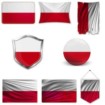 Conjunto da bandeira nacional da polônia