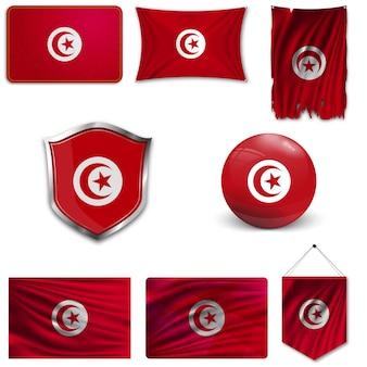 Conjunto da bandeira nacional da tunísia
