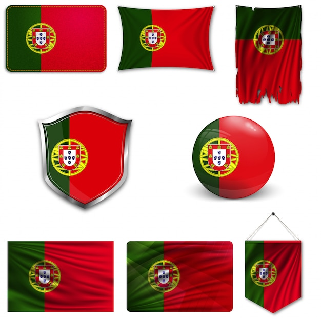 Conjunto da bandeira nacional de portugal