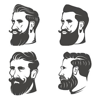 Conjunto da cabeça do homem barbudo em fundo branco. elementos para barbearia emblema, distintivo, sinal, marca.
