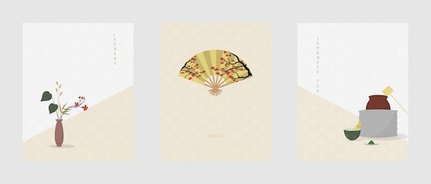 Conjunto da cultura tradicional japonesa. cartaz em estilo simples e minimalista.