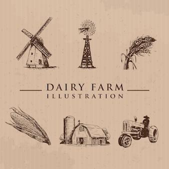 Conjunto da fazenda em estilo de desenho ilustração em vetor gado desenhado à mão trator de trigo moinho de vento