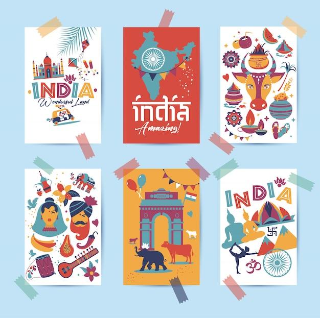 Conjunto da índia. país da ásia, arquitetura indiana, tradições, símbolos de viagens em 6 cartas.