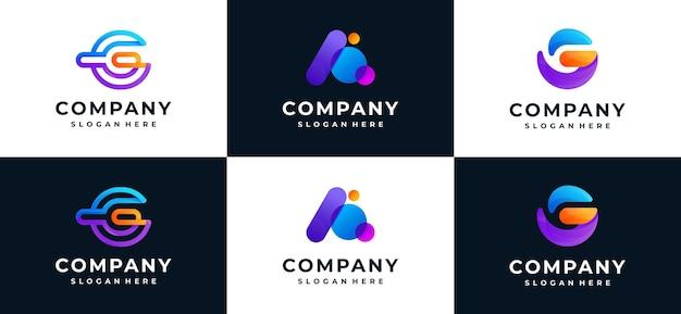 Conjunto da letra g inicial e uma coleção de logotipo