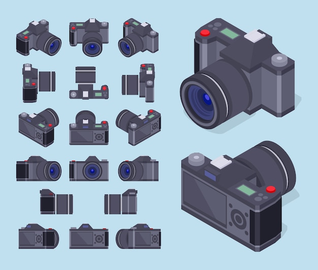 Conjunto das câmeras fotográficas isométricas