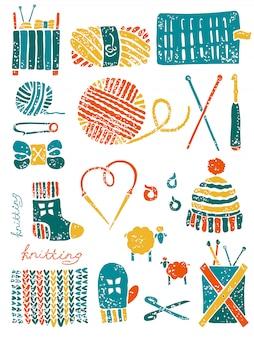 Conjunto das coisas para tricotar