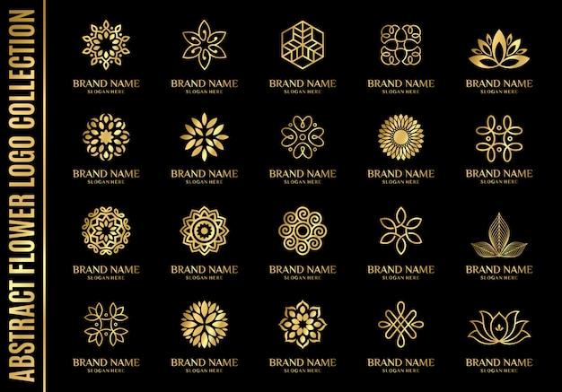 Conjunto das melhores coleções de logotipo de flor abstrata