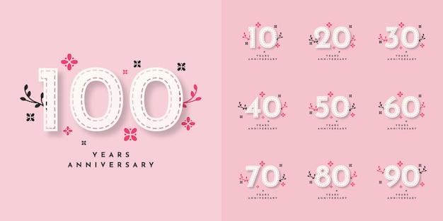 Conjunto de 10 a 100 anos de design de modelo de aniversário