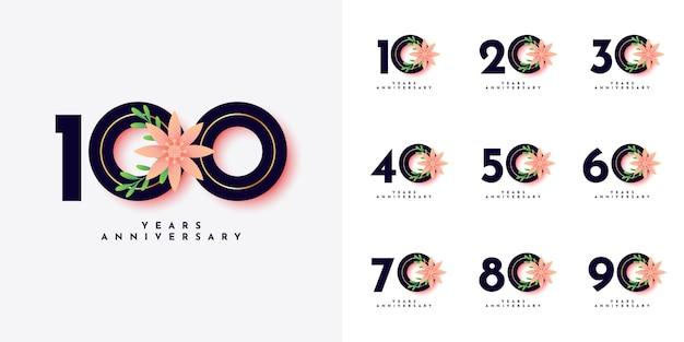 Conjunto de 10 a 100 anos design de aniversário
