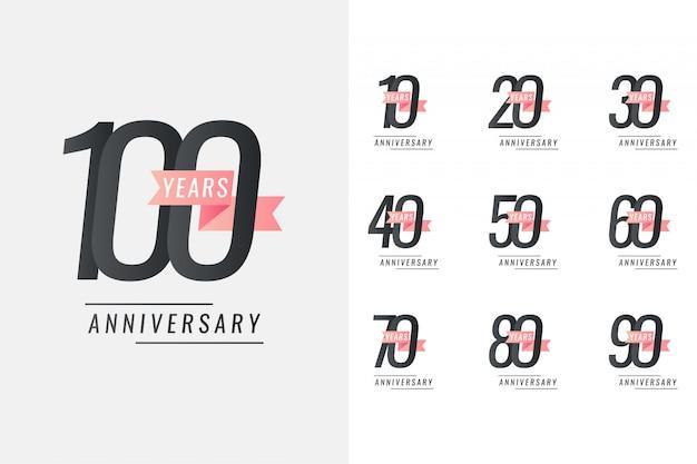 Conjunto de 10 a 100 anos design de modelo de ilustração de comemoração de aniversário