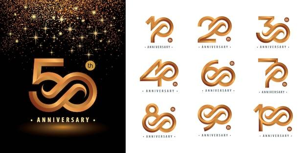 Conjunto de 10 a 100 design de logotipo de aniversário, anos comemoram aniversário logotipo