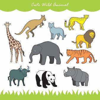 Conjunto de 10 animais selvagens fofos