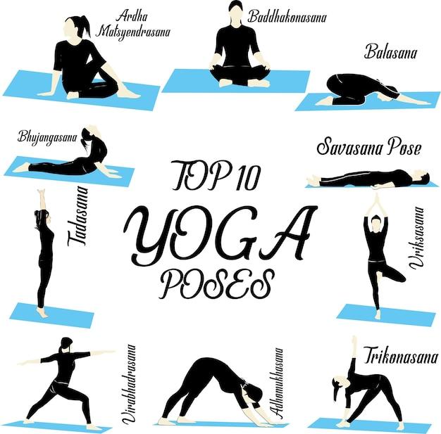 Conjunto de 10 poses de ioga para mulheres.