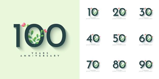Conjunto de 10 t0 design de modelo de ilustração de aniversário de 100 anos