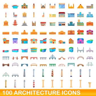 Conjunto de 100 ícones da arquitetura. ilustração dos desenhos animados de 100 ícones da arquitetura isolados no fundo branco