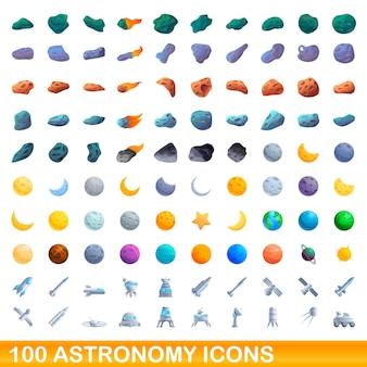 Conjunto de 100 ícones da astronomia. ilustração dos desenhos animados de 100 ícones da astronomia isolados