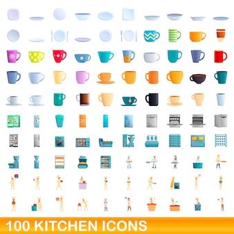 Conjunto de 100 ícones da cozinha. ilustração dos desenhos animados de 100 ícones de cozinha isolados no fundo branco
