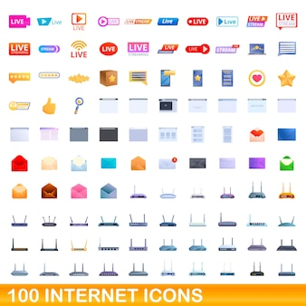 Conjunto de 100 ícones da internet. ilustração dos desenhos animados de 100 ícones da internet isolados no fundo branco