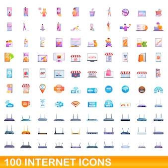 Conjunto de 100 ícones da internet. ilustração dos desenhos animados de um conjunto de vetores de 100 ícones da internet isolado no fundo branco