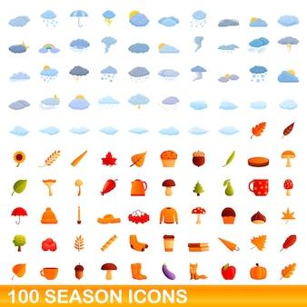 Conjunto de 100 ícones da temporada. ilustração dos desenhos animados do conjunto de vetores de 100 ícones da temporada isolado no fundo branco