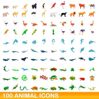 Conjunto de 100 ícones de animais, estilo cartoon
